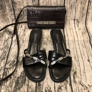 Brighton Black Leather Croc Sandals